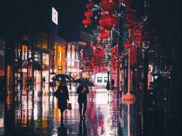 People in rainy street