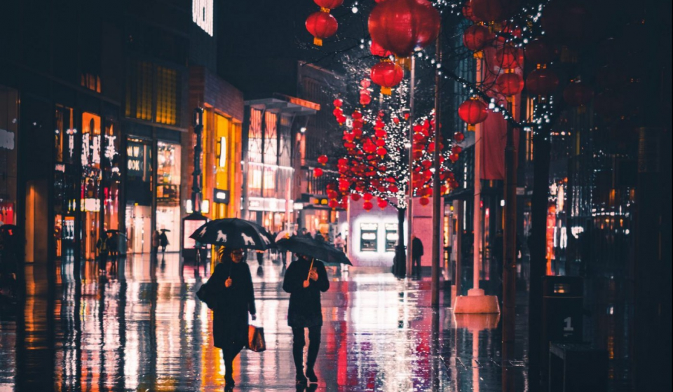 People in rainy street